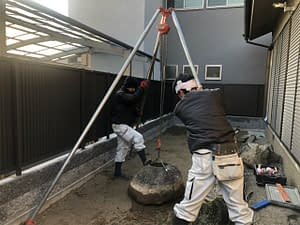 平野区 O様邸 庭工事 枯山水 蹲 施工の画像