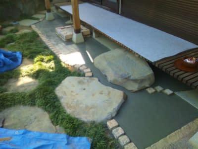 松原市K様 縁側に癒し洗出し舗装