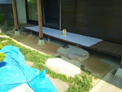 松原市K様 縁側に癒し洗出し舗装施工前