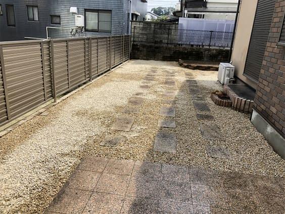 兵庫県西宮市 砂利敷き 防草シート張工施工後