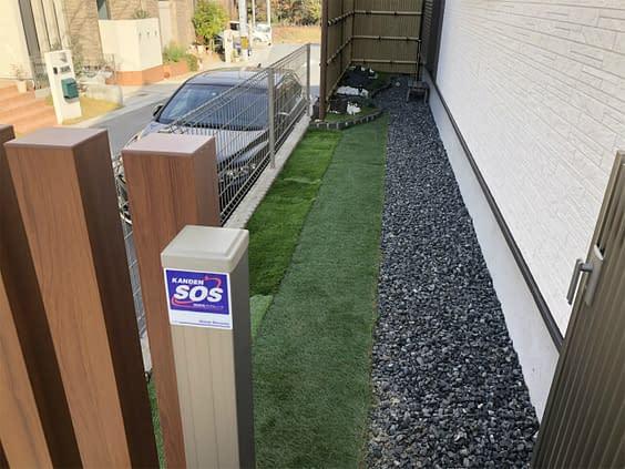 奈良県生駒市 角柱フェンス 人工芝設置