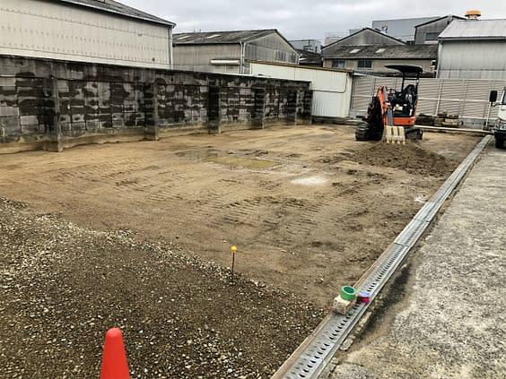 平野区 外構工事 透水平板 バラス敷き施工